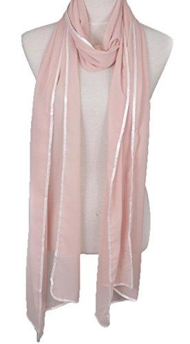 Elegant Extra Long Chiffon Scarf with white hem, fashion scarf, multi color, summer beach scarf (Pink) -