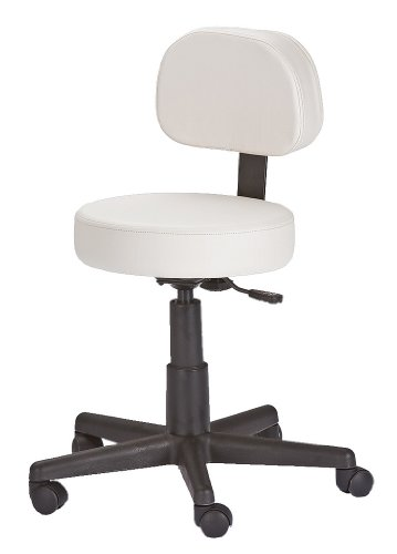 EARTHLITE Pneumatic Rolling Stool with Back Support, NS White ()