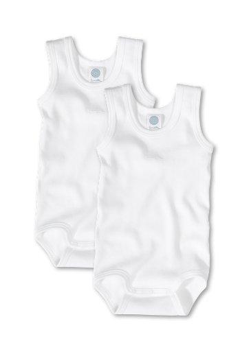Sanetta Unisex - Baby Body 321859, 2Er Pack, Einfarbig, Gr. 104, Weiß (White 10)