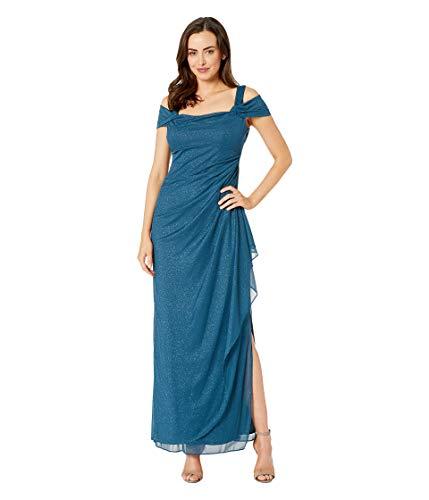 Alex Evenings Women's Long Cold Shoulder Dress (Petite and Regular Sizes), Peacock Glitter, 14