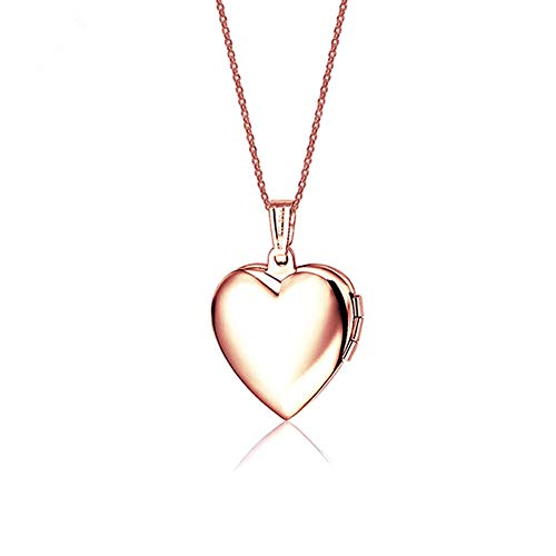LF Stainless Stee 18K Rose Gold Plated Personalized Name Date Love Custom Heart Locket Necklace that Holds Pictures Openable Photo Pendant for Girls Womens,Free Engraving Customized,Pink Inside