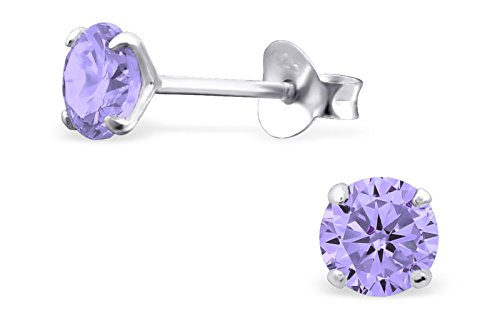 - Hypoallergenic Sterling Silver CZ Crystal June Birthstone Earrings for Little Girls (Nickel Free)