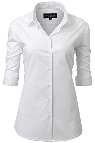Harrms Half Sleeve Dress Shirts for Women, Button Down Shirts White Shirts Size 14 (Dress White Sleeve Half Shirt)