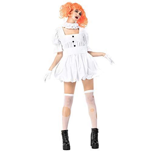 Broadmix Women's Halloween Cosplay Costume White Dress Stage Show Outfit ()