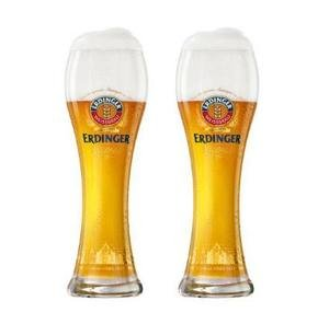 Beer German Pilsner - Erdinger Pint, Brand New Beer Glasses, Set Of 2 Glasses, 0.5 Litre Lined
