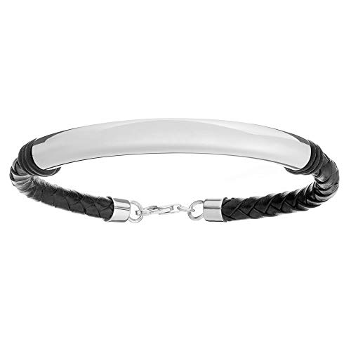 Silverly Men's .925 Sterling Silver Black Leather Braided for sale  Delivered anywhere in Canada