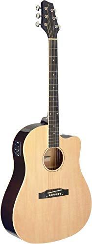 Stagg Cutaway - Guitarra acústica eléctrica (hombro inclinado, color natural)