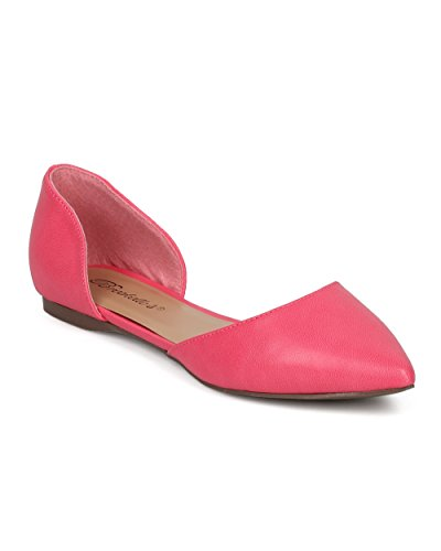Breckelle's Women D'Orsay Flat - Casual, Office, Dressy, Everyday - Pointy Toe Ballet Flat - GG17 Pink (Size: 7.5) (Tan Metallic Ballet Flats Shoes)