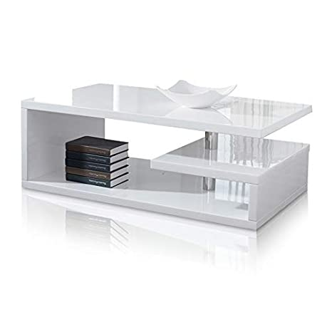 Rosa Designer Square Coffee Table White High Gloss Finish Amazonco
