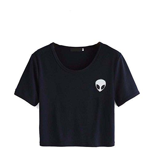 Crop Top Blusa, Tukistore Mujer Camiseta de Manga Corta Divertido Lindo Alien Crop Top Camiseta de Manga Corta Camiseta Casual Blusa Suelta Top Camiseta ...