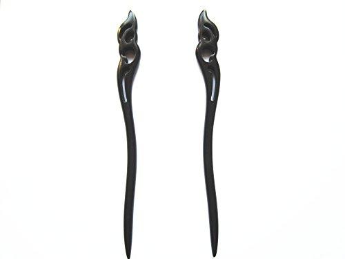 Myhsmooth Zz-bg-moon 2 Count Hair Sticks Natural Black Sandalwood(ebony) Handmade Carved Hair Clip Shawl Hair Pins Pack of 2 Pcs :Hold the Moon ()