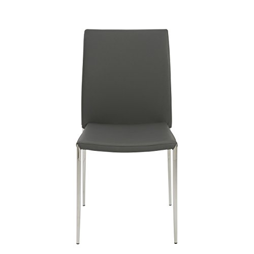- Euro Style Diana Soft Leatherette Stacking Side Chair with Stainless Steel Frame, Gray, Set of 4