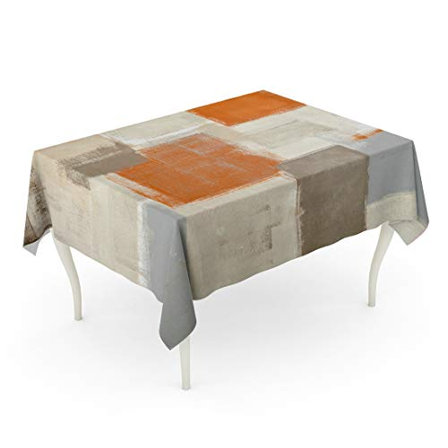 Tarolo Rectangle Tablecloth 60 x 102 Inch Gray Contemporary Beige and Orange Abstract Painting Brown White Blocks Gallery Grey Home Table Cloth