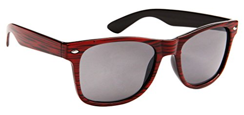 Classic Wayfarer Sunglasses for Men & Women Faux Woodgrain, Smoke Lens (Cherry Woodgrain) - - Sunglasses Jfk