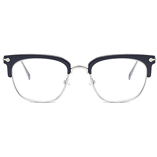 b068d2042e Unisex Retro Lentes Marco De Metal Lente Claro Vintage Moda Gafas Medio  Marco Gafas Hombres Mujeres