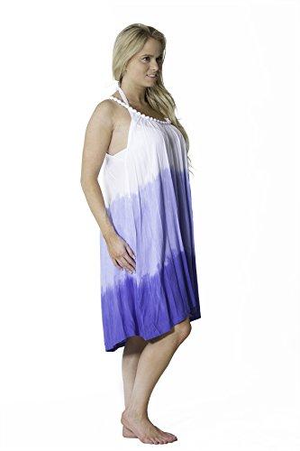 Cinghia Quarti Ombre Del Womens Vestito Stampa Spiaggia Onesize Blu Rilievo qRpxBB6A
