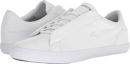 Lacoste Lace Sneakers (Lacoste Men's Lerond Hidden Lace 318 1 U White/Navy 11.5 M US M)