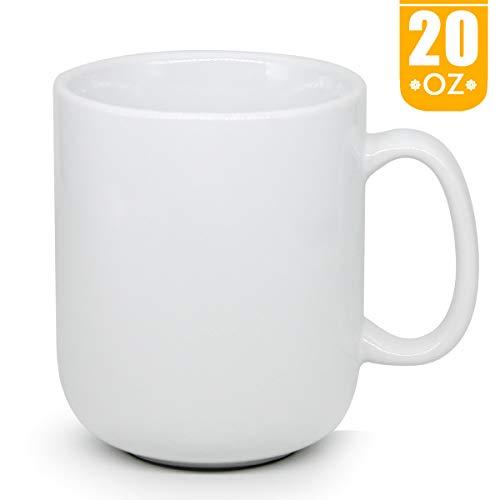 20 OZ Large Coffee Mug, Smilatte M016 Plain Ceramic Boss Cup with Handle for Dad Men, White - Mug Giants Coffee Set
