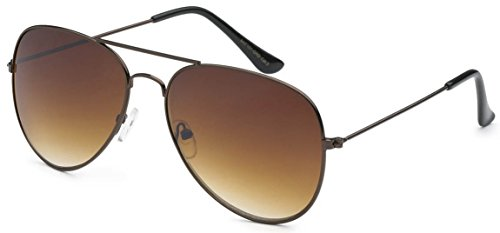 Aviator Style Sunglasses Bronze Metal Frame Brown Gradient Lens Men Women UV 400