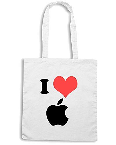 T-Shirtshock - Bolsa para la compra TR0060 I Love Apple 25mm 1 Pin Badge Button Mac Steve Jobs Computer Geek Blanco
