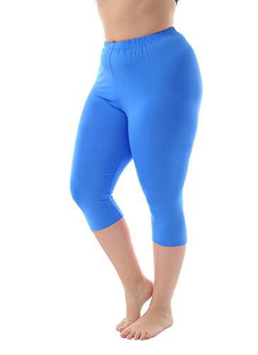 Women's Modal Plus Size Basic Solid Color Capri Leggings Sky Blue - Blue Capris Sky Womens