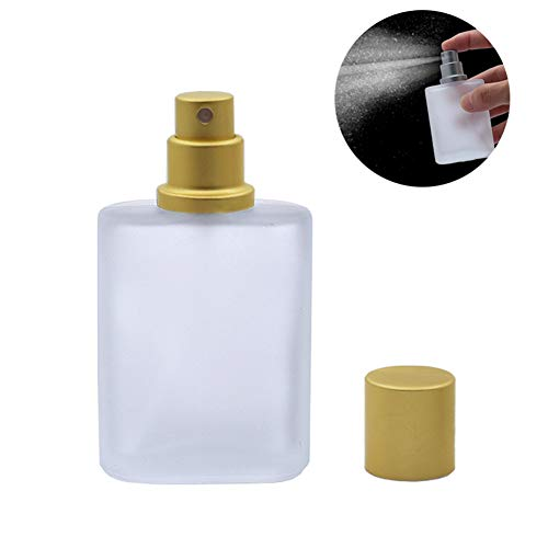 1PCS 30ML 1OZ Refillable Empty Frosted Glass Spray Perfume Bottle with Golden Metal Cap Fine Mist Jar Perfume Dispenser Makeup Water Toner Repellent Liquid Holder Cosmetic Container Atomizers