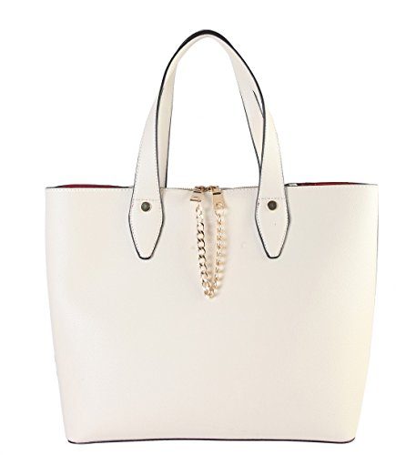 diophy-pu-leather-front-chain-decor-multi-spaced-tote-womens-purse-handbag-accented-with-removable-s