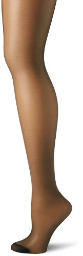 Hanes Women's Control Top Reinforced Toe Silk Reflections Panty Hose, Jet, - Jet Nude Black