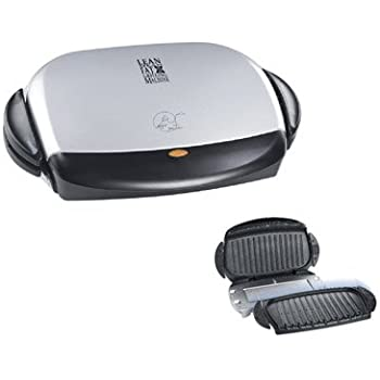 George Foreman GRP4P 4-Burger Grill with Removable Plates (Platinum)