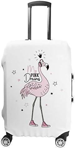 スーツケースカバー トラベルケース 荷物カバー 弾性素材 傷を防ぐ ほこりや汚れを防ぐ 個性 出張 男性と女性フラミンゴの夢
