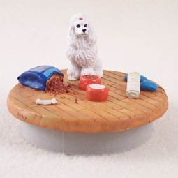 Conversation Concepts Miniature Poodle White Candle Topper Tiny One ''A Day at Home'' by Conversation Concepts