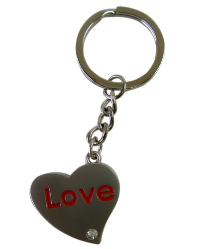Heart Shaped Love Pendant - Love Charm Silver Tone Pewter Keychain with Diamond