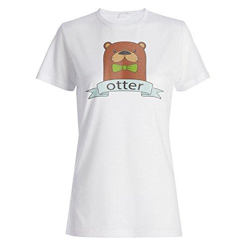 Neuer Hand Gezeichneter Otterbogen Damen T-shirt l205f