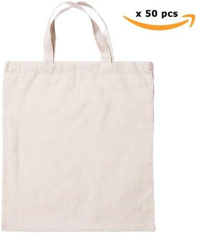Lote 50 Bolsas Reutilizables, de Algodón Natural, Asa Corta ...