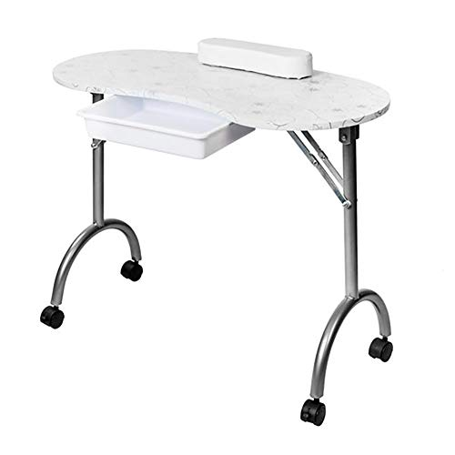 Moonwind Portable MDF Manicure Table with Armrests and Drawers Salon Spa Beauty Salon Equipment Desk White