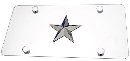 Rock Star 3d Chrome Emblem on Polished Stainless Steel License (Stainless Steel Polished Stars)