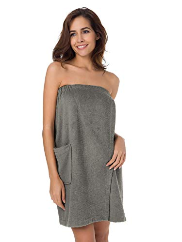 - SIORO Women's Towel Wrap, Bamboo Cotton Bath Wraps with Adjustable Closure, Spa and Shower Bath Robes,Falcon XL Gray