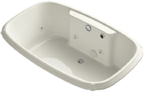KOHLER K-1457-HF-96 Portrait 67-Inch X 42-Inch Drop-In Whirlpool Bath with Reversible Drain, Heater, Custom Pump Location and without Trim, Biscuit Kohler Portrait Biscuit