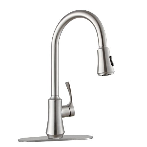 Primy Lead-Free Commercial Kitchen Faucet Solid Strainless Steel Single Handle Single Lever Pull Down Pull Out Sprayer Kitchen Sink Faucet High-Arc Brushed Nickel Kitchen Sink Faucets with Deck Plate (Step Out Pull Single)