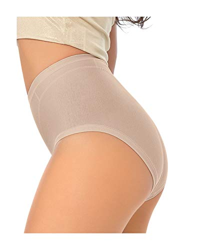 Leonisa Women's High Cut Panty Shaper in Cotton, Nude, M