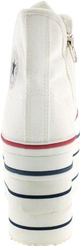 Platform Double Zipper Shoes Sneakers White Super Canvas Maxstar 7qpwE5x