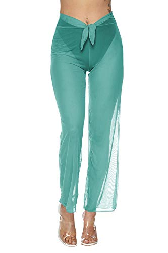 Pink Queen Women's Sheer Mesh Pants Swimsuit Bikini Bottom Cover up Turquoise S