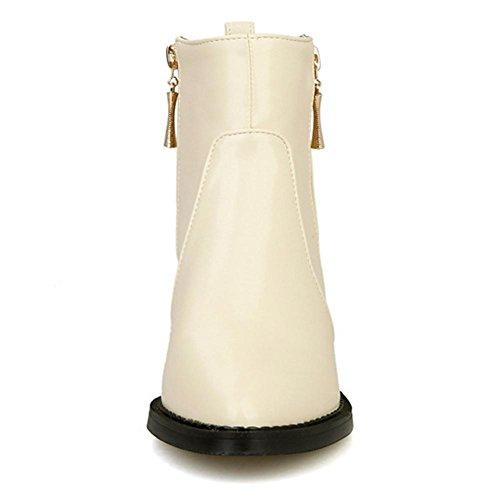 robusto bianco con non H metallo ginocchio HQuattro Beige rivetto Nero gomma and Rosso XIAOGANG slip di lato warm stagioni Zipple white resistente all'usura 39 donne corta stivali 1OdqIn8qx6