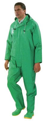 Pvc Over Polyester (Bata Shoe 71050-MD Onguard Industries Medium Green Chemtex PVC, Nylon And Polyester Rain Coverall With Storm Flap Over Front Zipper Closure, English, 15.34 fl. oz, Plastic, 1