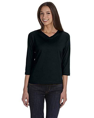 (LAT Womens Combed Ringspun V-Neck 3/4-Sleeve T-Shirt (3577) -BLACK)