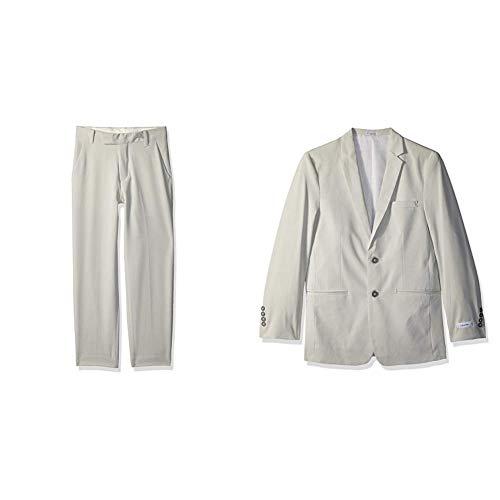 (Calvin Klein Boys' Flat Front Dress Pant and Blazer Jacket, Tick Weave Seastorm, 16)