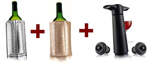 (Vacu Vin Two Active Wine Coolers - Silver and Platinum, bundle with Vacu Vin Wine Saver with 2 Vacuum Stoppers - Black)