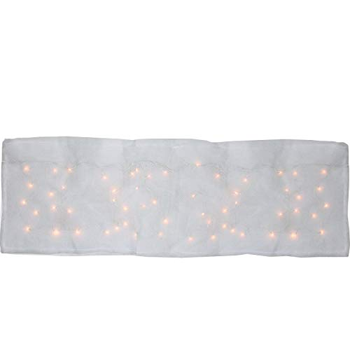 ProductWorks 8 Function LED Illuminated Blanket for Mantle or Christmas Village Display Artificial Snow, White - Illuminated Artificial Tabletop Christmas Tree