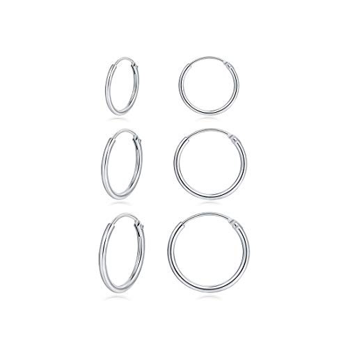Small Hoop Earrings -Silver hoop earrings Set Hypoallergenic Endless Cartilage Earrings Sleeper for Women Men Girls,3 pairs of Sterling Silver Tragus Earrings ()