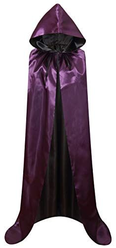 VGLOOK Unisex Christmas Halloween Witch Party Reversible Hooded Adult Vampires Cape Cloak (Purple/Black)